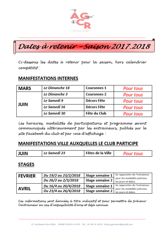 DATES IMPORTANTES - Saison 2017-2018
