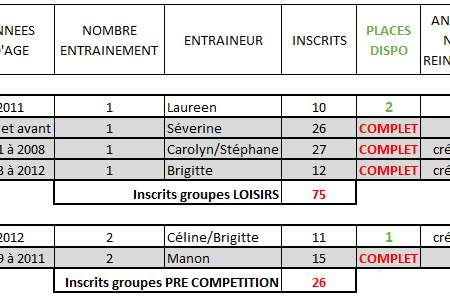Bilan des inscriptions 2018-2019 : Places disponibles